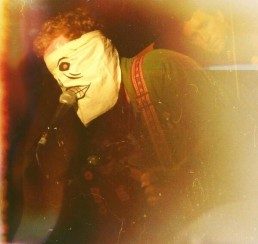 Glen wearing the Lay Me Down skull mask