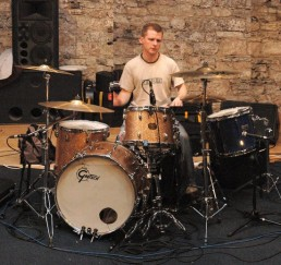 Johnny Boyle sitting at his drums